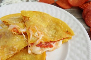 Easy Pepperoni Pizza Quesadillas