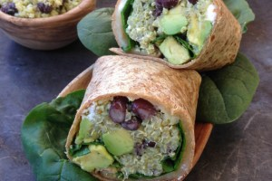 Black Bean, Feta & Avocado Quinoa Wrap with Avocado Tahini Dip