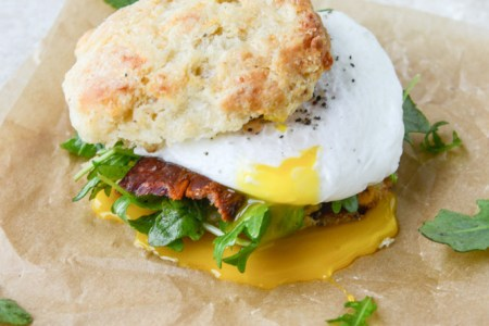 Havarti Breakfast Biscuits with Jalapeño, Bacon and Arugula