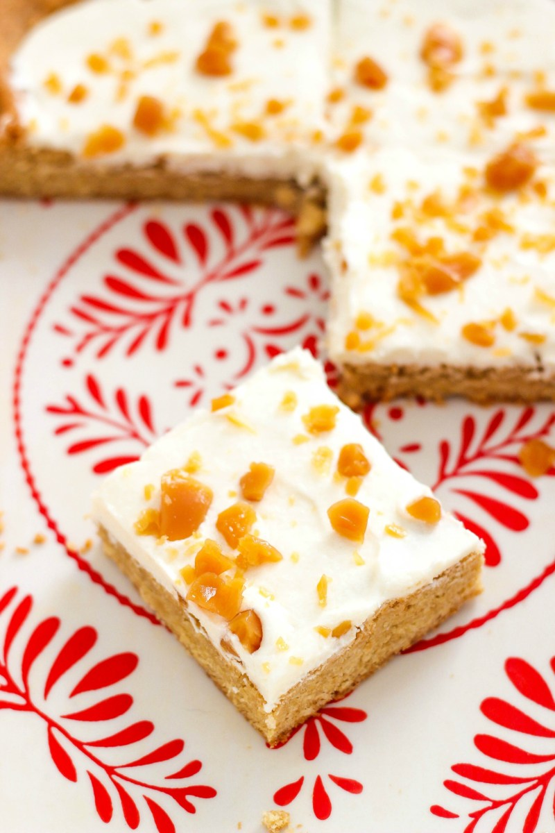Maple Cookie Bars with Butter Cream Frosting and Toffee Bits