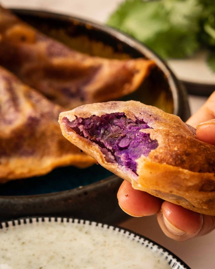 hand holding golden brown crispy samosa with bite taken out to reveal vibrant purple potato filling held over yoghurt dip