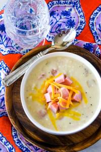 Ham chowder made in the slow cooker.