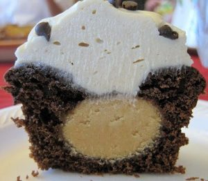 The inside of a Chocolate Peanut Butter Cupcake