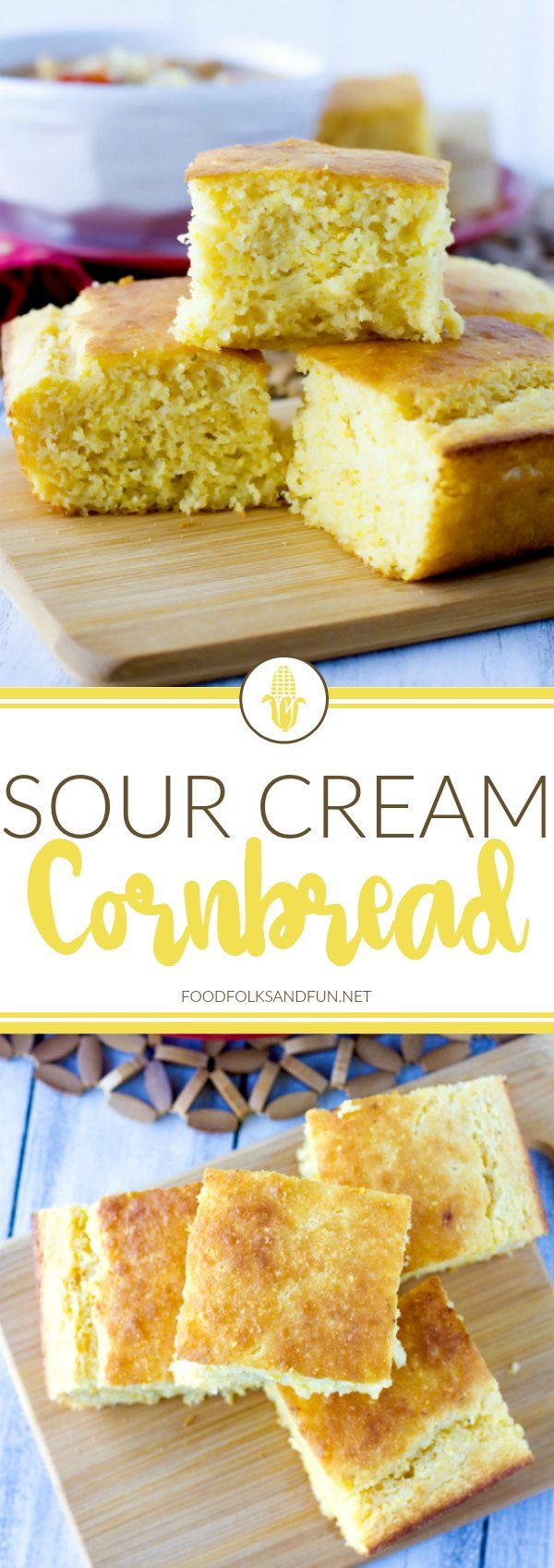 This Sour Cream Cornbread recipe is so moist, delicious, and not overly sweet. It's super easy to make, and the entire family will LOVE it! via @foodfolksandfun