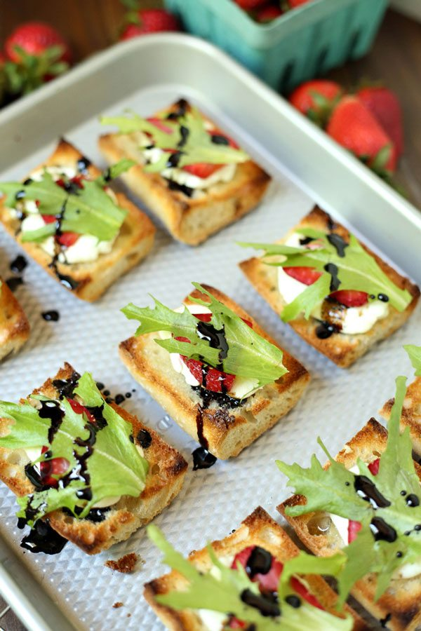 Strawberry Goat Cheese Bruschetta with Balsamic Glaze is a delicious summer appetizer