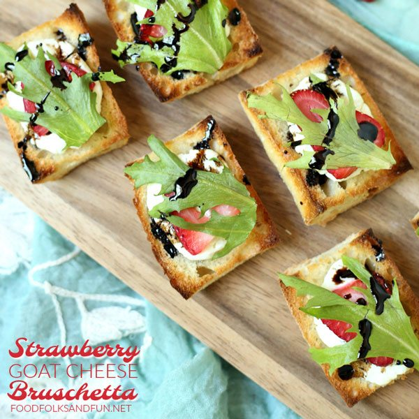 Easy summer appetizer recipe for Strawberry Goat Cheese Bruschetta with Balsamic Glaze