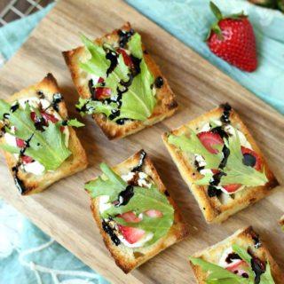 Easy Summer Appetizer - Strawberry Goat Cheese Bruschetta with Balsamic Glaze