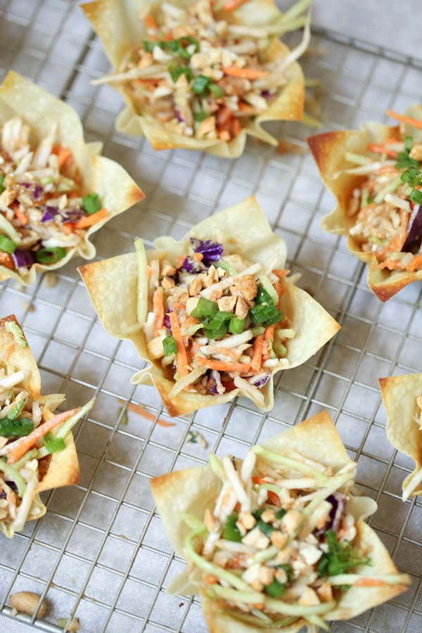 Asian Coleslaw with Thai flavors in crispy wonton cups.