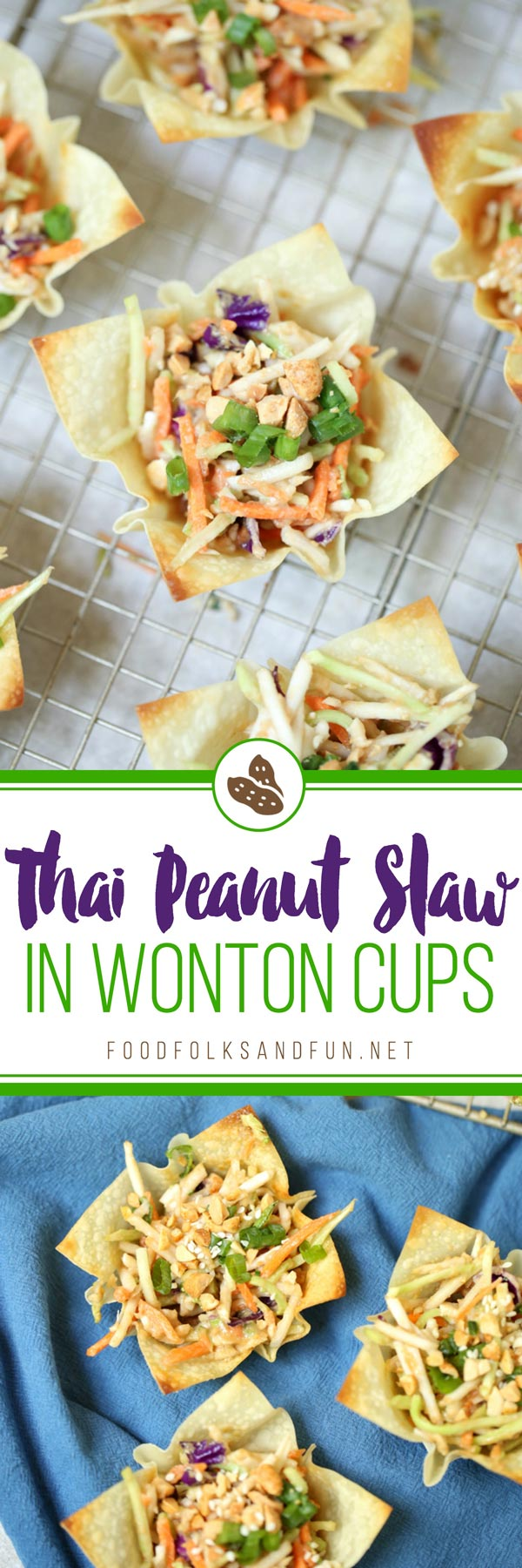Asian Coleslaw with Thai Peanut Dressing in Wonton Cups is an easy side dish or appetizer for summer cookouts. via @foodfolksandfun