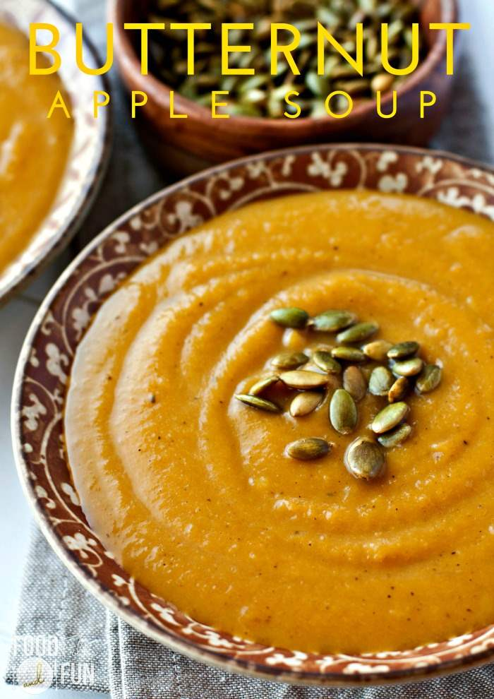 Close up picture of butternut quash soup.