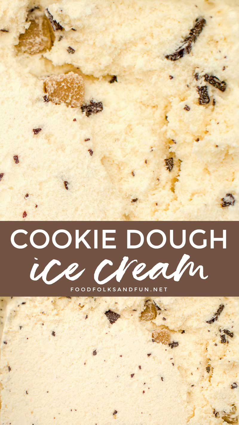 Cookie Dough Ice cream ready to be scooped.