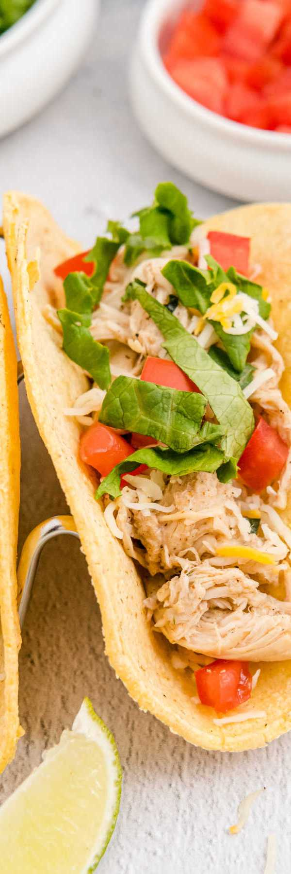 Picture collage of crockpot shredded chicken tacos for Pinterest.