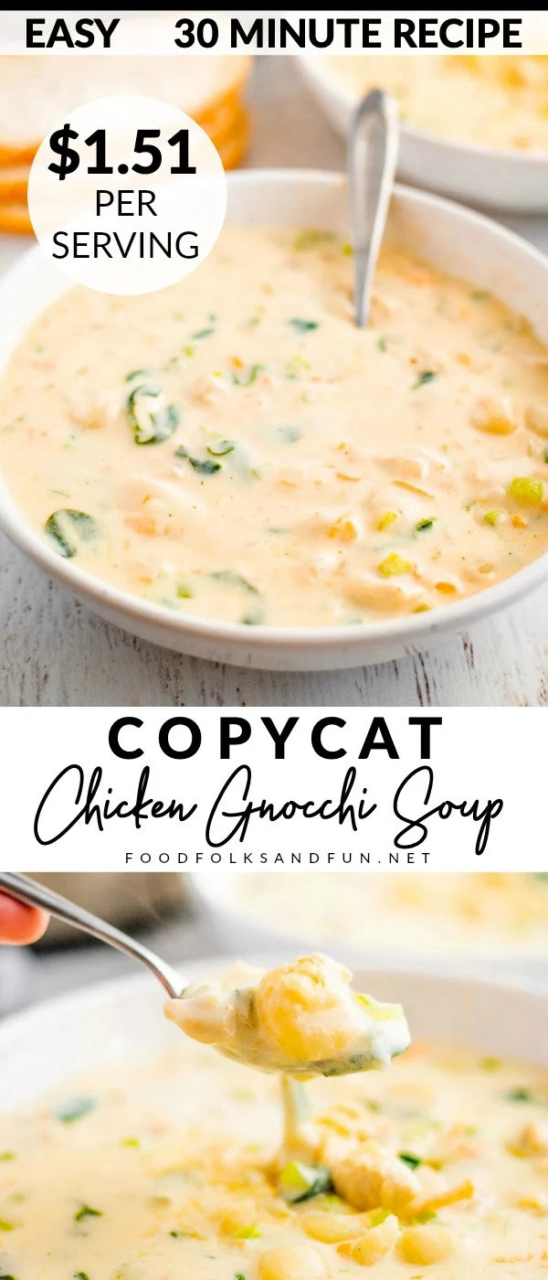 This Copycat Olive Garden Chicken and Gnocchi Soup recipe is better than the original! It serves 6 and costs $9.08 to make. That's just $1.51 per serving! via @foodfolksandfun