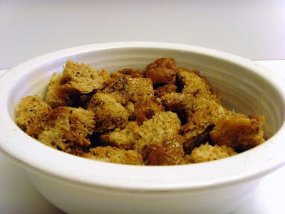 Picture of homemade croutons from 2011.