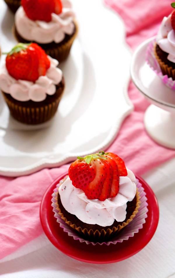 The best Dark Chocolate Cupcakes with Strawberry Swiss Meringue Buttercream