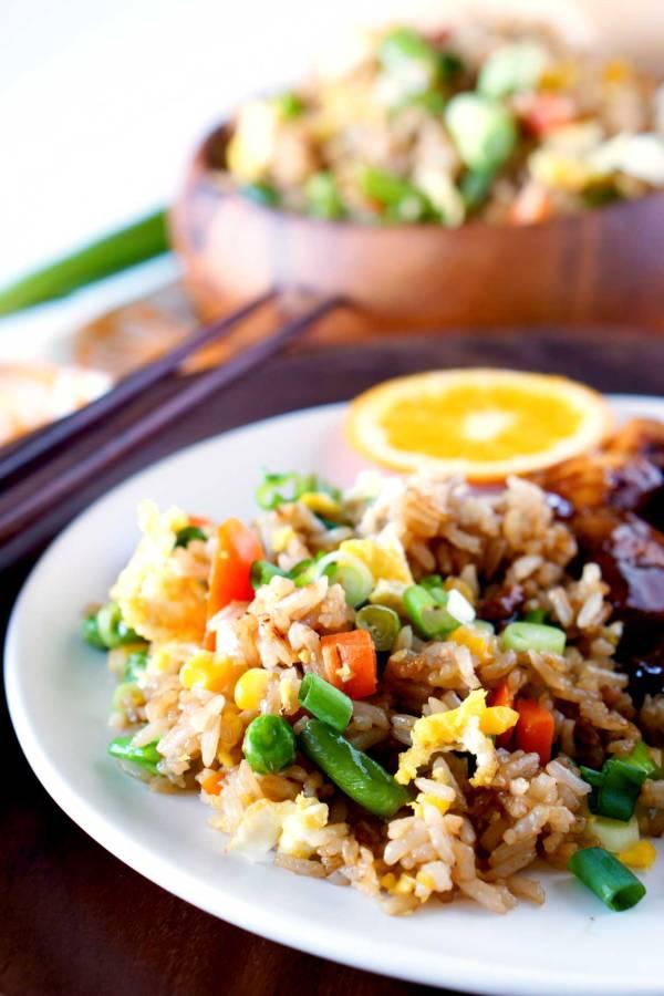 Fried Rice served with Orange Chicken