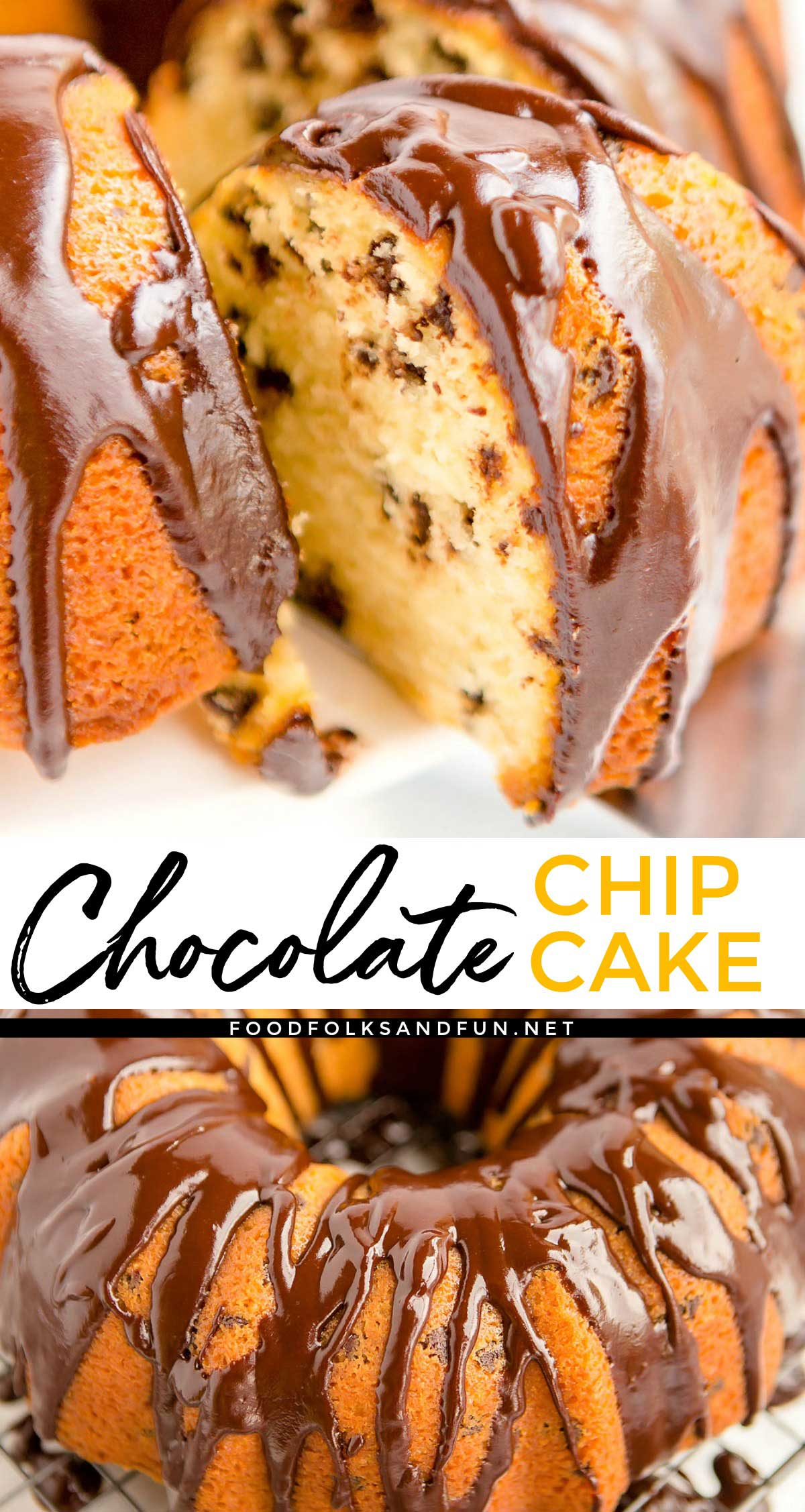 This Chocolate Chip Cake recipe has been a family favorite for over 30 years. It uses simple pantry ingredients that come together to make an irresistible Chocolate Chip Bundt Cake. Make it and it will become a staple at your family get-togethers, birthdays, and parties! via @foodfolksandfun