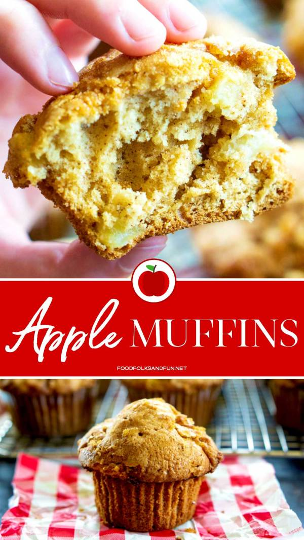 These Apple Muffins are perfect for snacks and breakfast on the go. They're generously spiced and have an irresistible crunchy brown sugar topping!