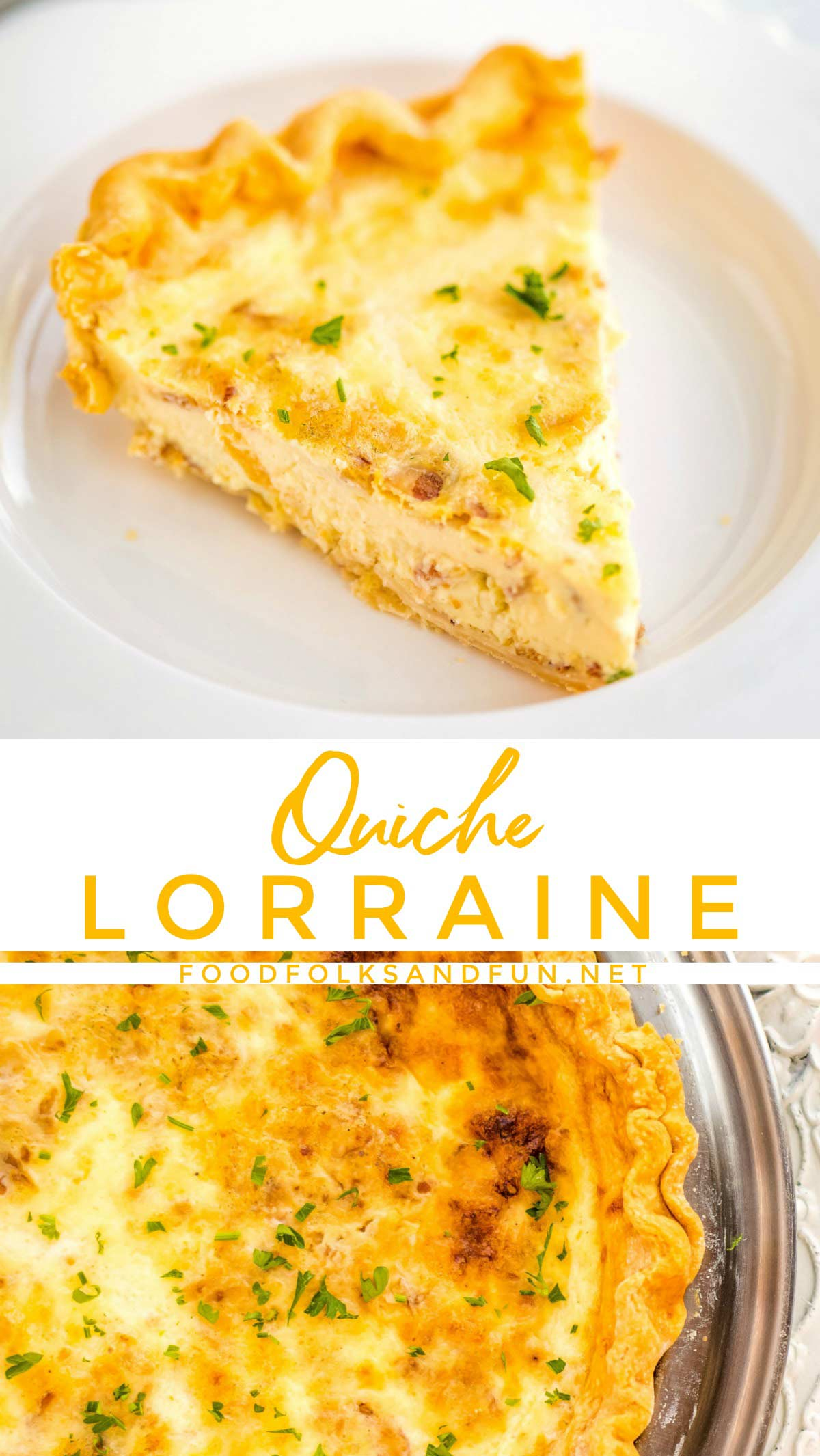 This Quiche Lorraine recipe boasts a crispy, buttery crust and a cheesy, custard-like interior that is full of flavor from the bacon, Gruyère cheese, and nutmeg. via @foodfolksandfun
