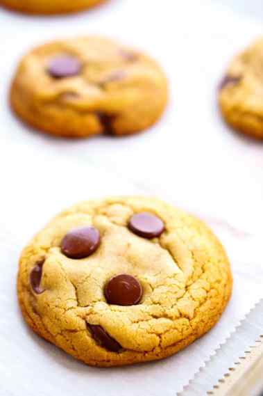 Chocolate Chip Cookies fresh out of the oven on a baking sheet.