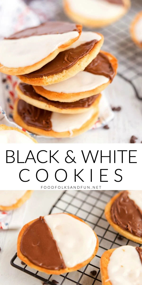 A picture collage of black and white cookies.