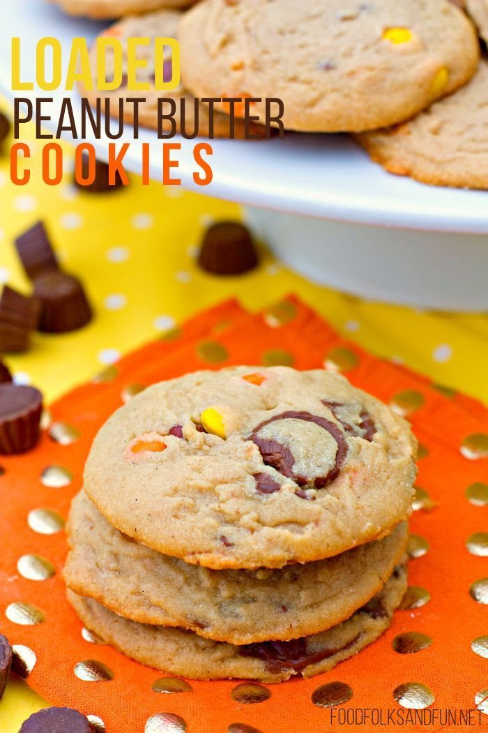 A stack of Loaded Peanut Butter Cookies with text overlay for Pinterest