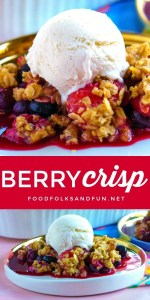Picture collage of berry crisp for Pinterest.