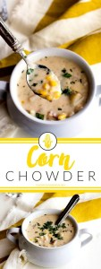 This Corn Chowder recipe is bursting with corn flavor. It's creamy without being heavy, and absolutely perfect for soup season!