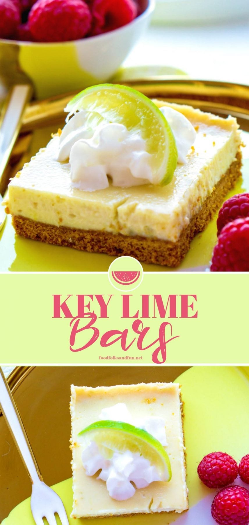 These Key Lime Bars are based on the summertime classic, Key Lime Pie. They're creamy, zesty, so easy to make, and they strike the perfect balance between sweet and tart. via @foodfolksandfun