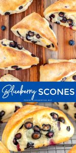 Picture collage of blueberry scones for Pinterest.