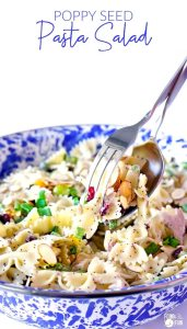 Poppy Seed Pasta Salad with chicken , craisins, and almond.