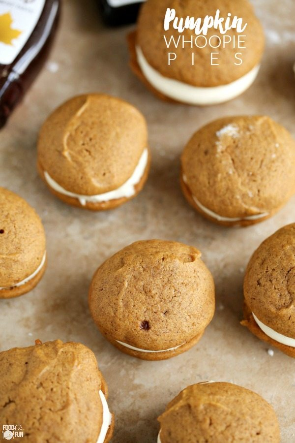 The classic New England dessert gets an update with pumpkin, spices, and maple! These Pumpkin Whoopie Pies with Maple Cream Cheese Frosting are the perfect fall dessert!