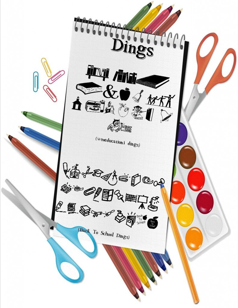 clip art for dings back to school fonts