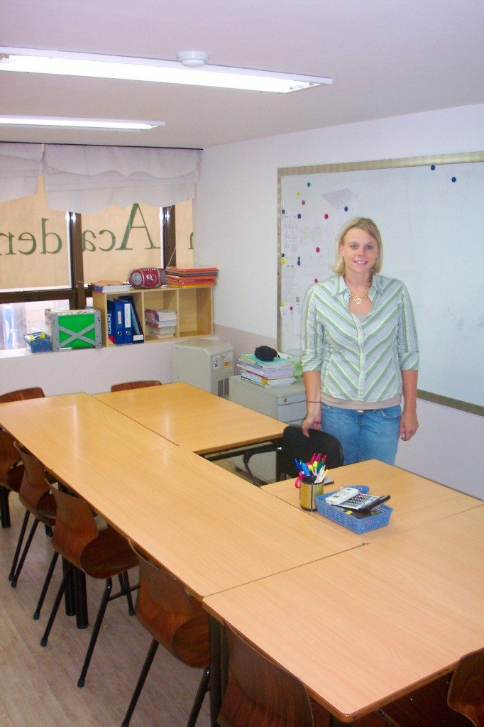 Jillian teaching in a classroom in Korea