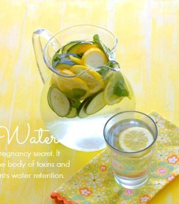A pitcher and glass of Spa Water with text overlay for Pinterest