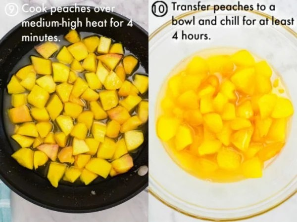 The peaches being cooked until soft.