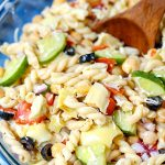 Italian Pasta Salad loaded with veggies, cheese, and a tangy Italian dressing.