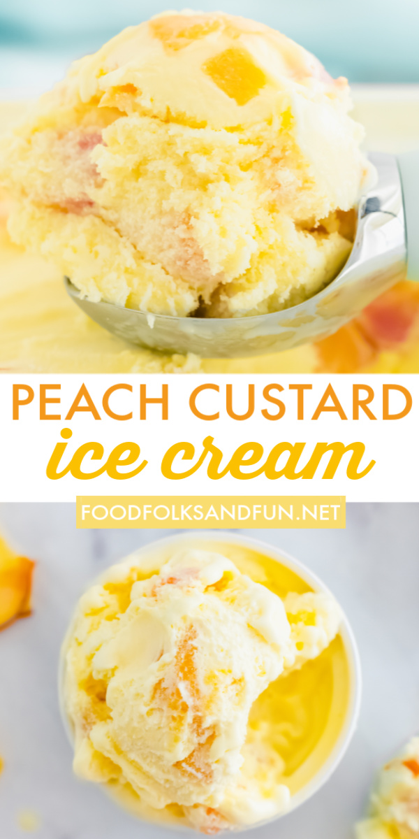 This Homemade Peach Ice Cream recipe has a custard base and made with simple ingredients like fresh peaches, milk, cream, sugar, egg yolks, and vanilla. via @foodfolksandfun