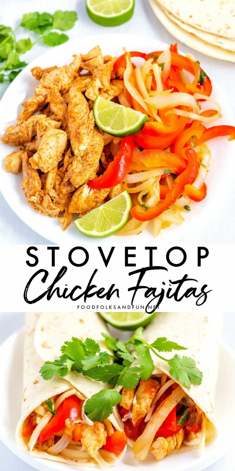 Pre-chopping the chicken makes this stovetop chicken fajitas recipe cook in just minutes. They will quickly become a favorite at your house. #chicken #chickenrecipe #easyrecipe #easydinner #quickdinner #quickandeasydinner #fajitas #chickendinner #MexicanFood #MexicanRecipe #foodfolksandfun via @foodfolksandfun