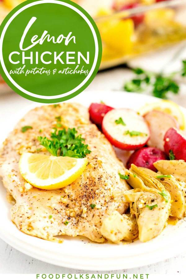 Lemon Chicken with red potatoes and artichokes