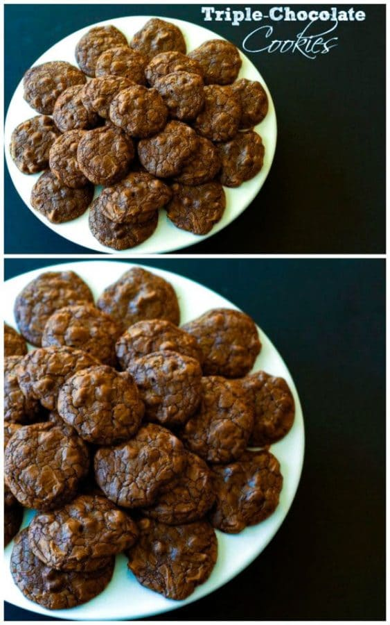 A collage of triple chocolate cookies on a plate