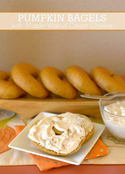 Pumpkin Spiced Bagels with Maple Walnut Cream Cheese