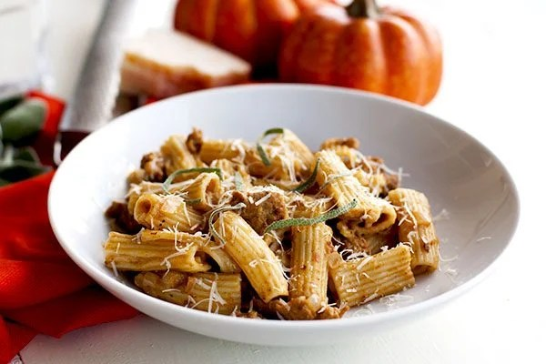 Pumpkin Pasta in a bowl that is creamy, spicy, and flavorful