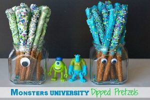 Monsters University Dipped Pretzel rods in glass containers with text overlay for Pinterest