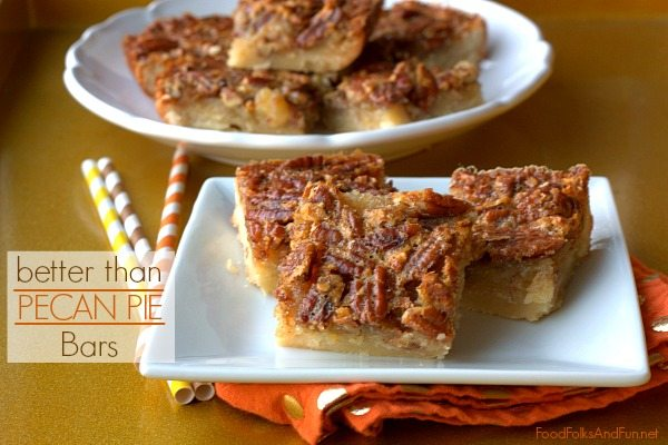 Pecan pie squares on a white plate.