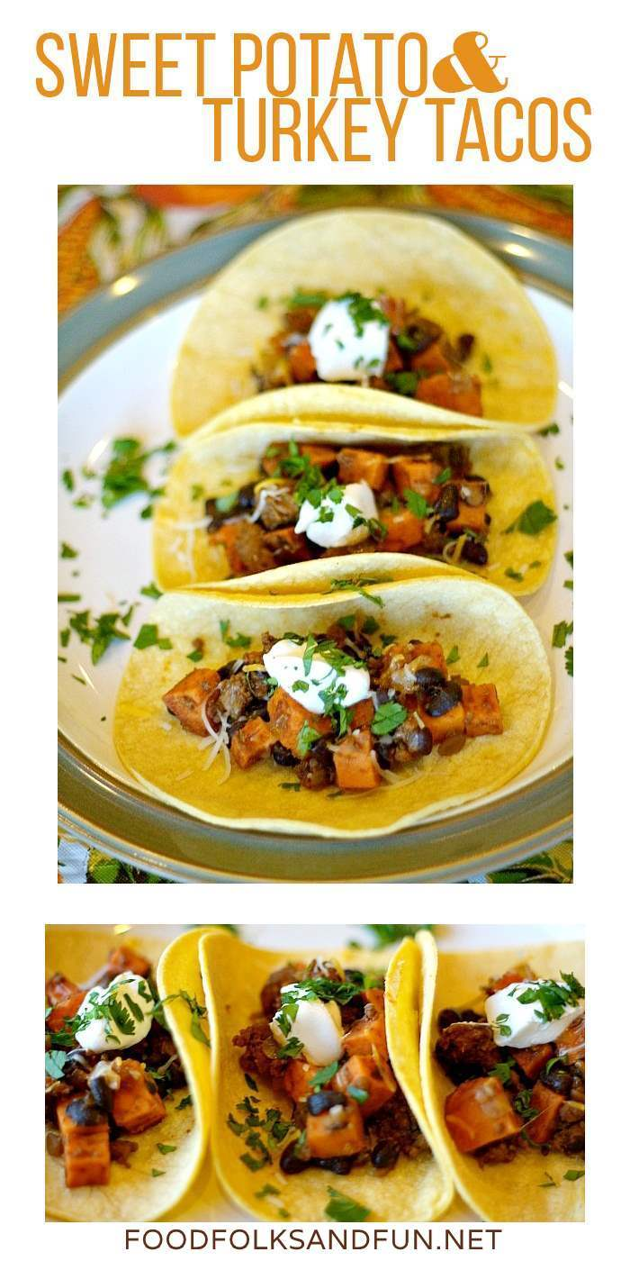 Sweet Potato & Turkey Tacos are an easy recipe that's perfect for Fall. They're bursting with flavor, gluten free and you make them in under 30 minutes!