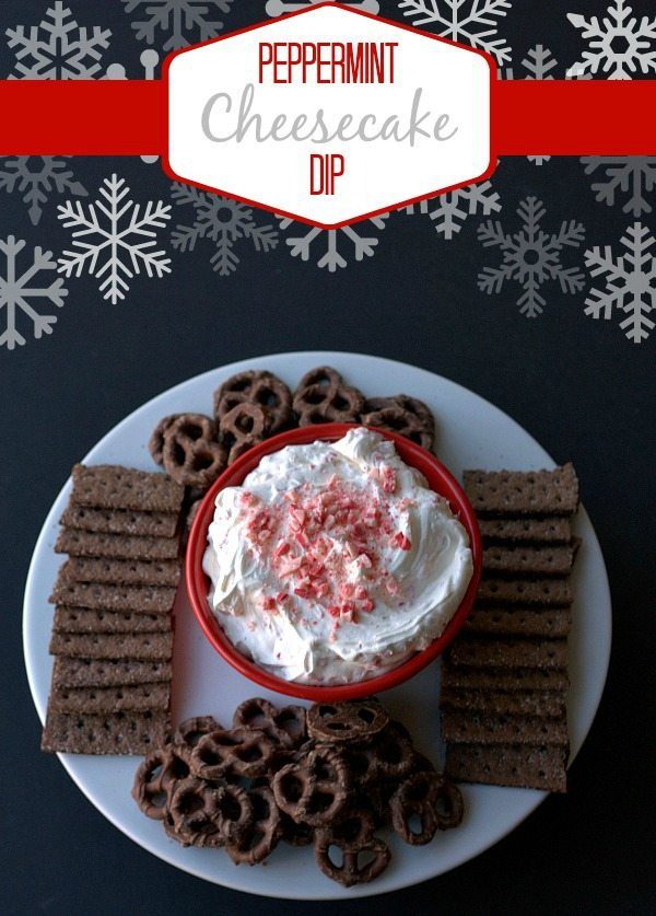 Overhear picture of peppermint cheesecake dip with text overlay for Pinterest.