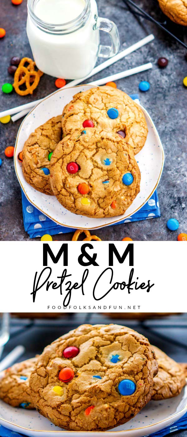 Browned Butter M&M Pretzel Cookies are sweet, salty, and a little bit addicting! The browned butter gives these cookies a butterscotch undertone that makes them irresistible!  via @foodfolksandfun