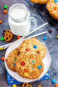 Overhead picture of cookies with milk.