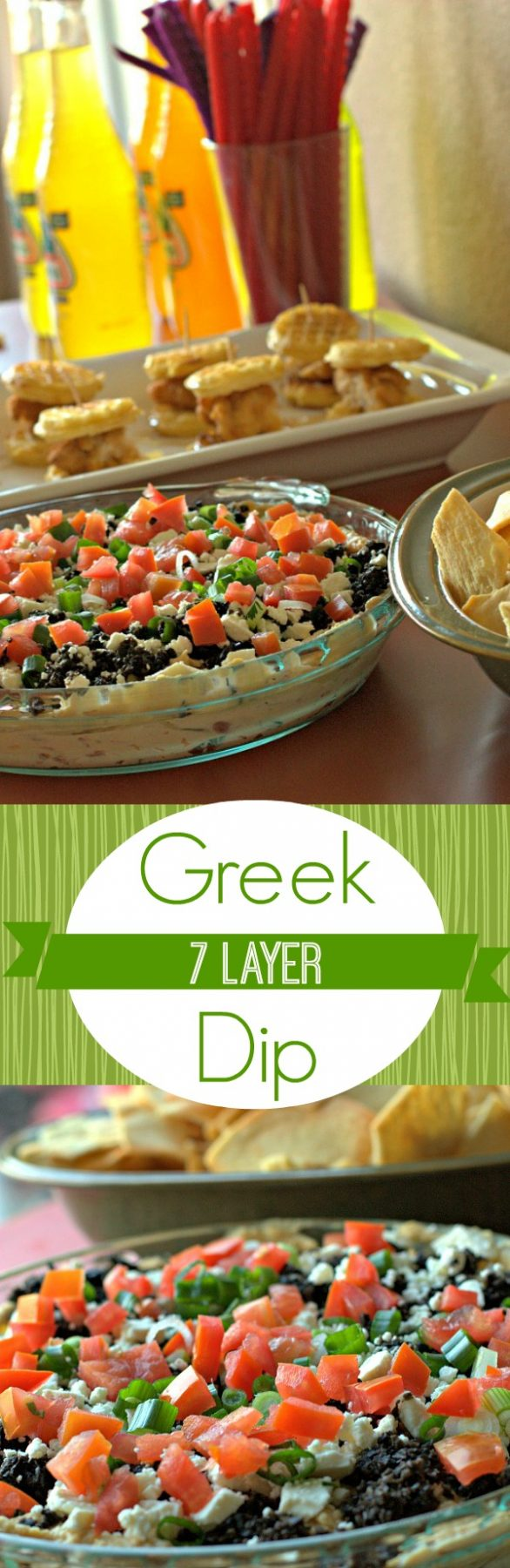 A collage of 7 layer Greek Dip with text overlay for social media